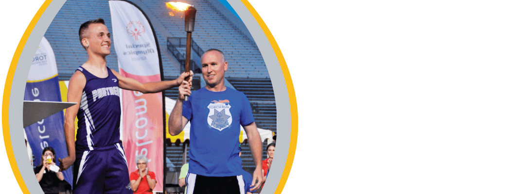 torch bearer at special olympics ceremony